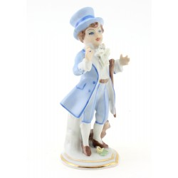 Dresden Elegant Man with Dog Figurine - Small