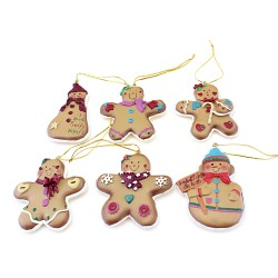 Resin Gingerbread Ornaments - Christmas Ornaments Set of 6
