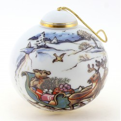 Vintage German Christmas Ornament w Reindeers By Reichenbach