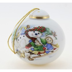 Vintage German Porcelain Christmas Ornament w Snowman & Children's By Reichenbach