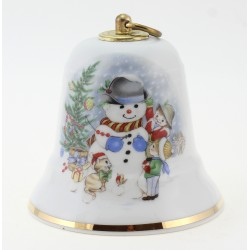 Vintage German Porcelain Musical Christmas Bell w Snowman By Reichenbach