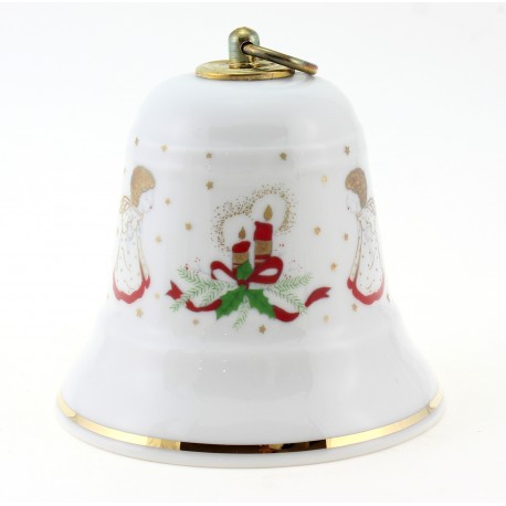 Vintage German Porcelain Musical Christmas Bell w Angels By Reichenbach
