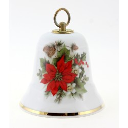 Vintage German Porcelain Music Christmas Bell w Flower By Reichenbach