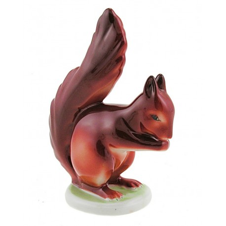 Vintage Hungarian Porcelain Hollohaza Squirrel Figurine