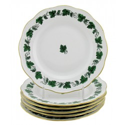 Hungarian Porcelain Herend Guirland De Raisins Bread and Butter Plates Set of Six