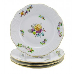 Hungarian Porcelain Herend Liechtenstein Grand Bread and Butter Plates Set of Four