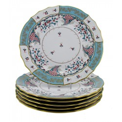Hungarian Porcelain Herend Cornucopia Decor Dinner Plates Set of Six