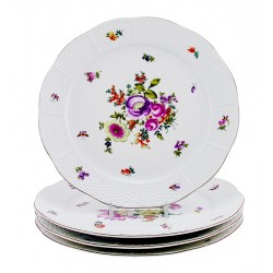 Vintage Hungarian Porcelain Herend Bouquet De Herend Decor Dinner Plates Set of Four