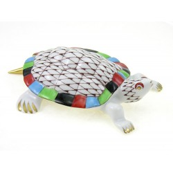 Hungarian Porcelain Hollohaza Fishnet Turtle Figurine