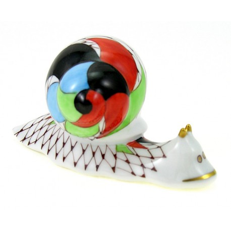 Hungarian Porcelain Hollohaza Fishnet Snail Figurine