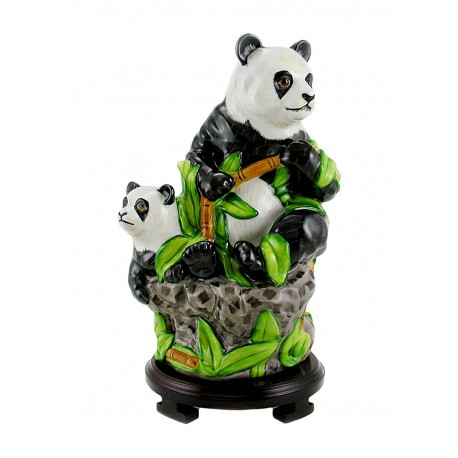 Large Lynn Chase Porcelain Figurine - Panda Bear and Baby Figurine