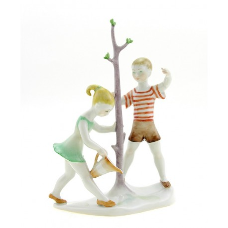 Hungarian Porcelain Herend Boy with Girl Figurine Watering a Tree
