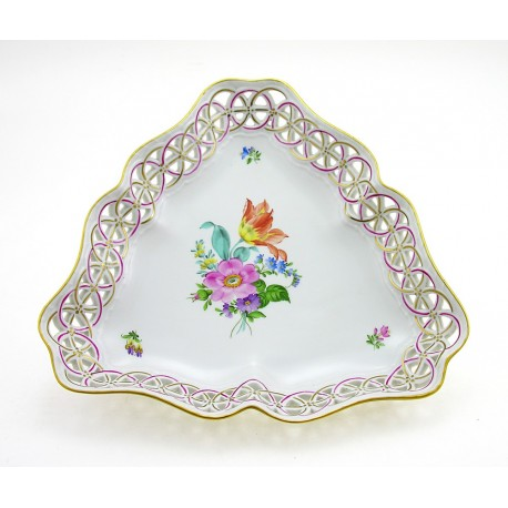 Hungarian Porcelain Herend Bouquet de Saxe Triangle Openwork Dish