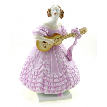 Large Herend Lady Playing on Guitar Figurine MRS Dery Signed