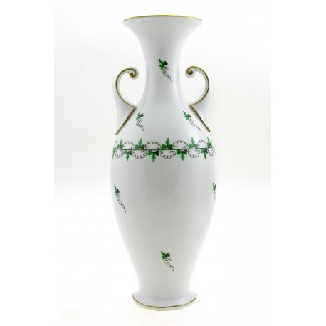 Hungarian Porcelain Herend Persil Decor Vase 13-Inch Tall