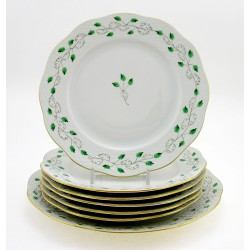 Hungarian Porcelain Herend Sabina Vert Decor Dessert Set with Serving Platter